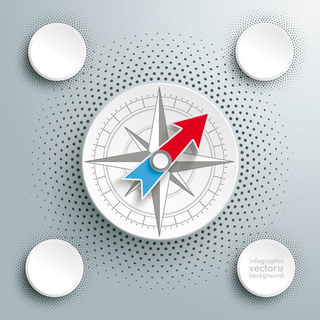 four objects: Infographic design with compass on the grey background.