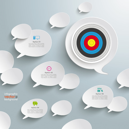 halfone: White speech bubbles with a target on the grey background.