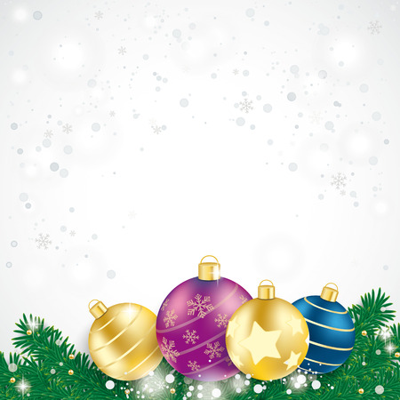 Red baubles with fir branches on the blue background.  Vector