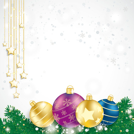 Colored baubles with fir branches on the blue background.  Vector