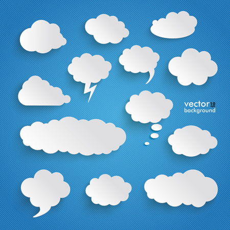 13: Clouds set on the blue background. Eps 10 vector file.