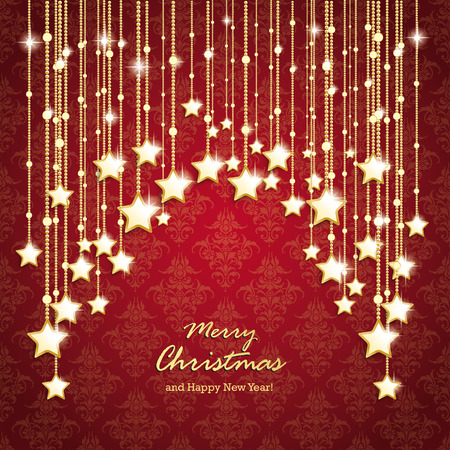 Christmas stars on the red background with ornaments.  Vector