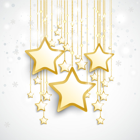 Christmas star with snowflakes on the white background. Vector