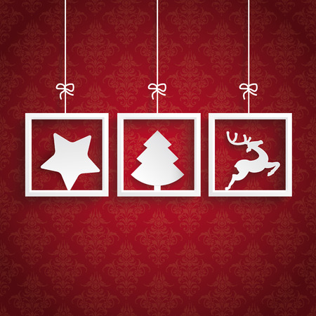 White frames on the red background. Vector