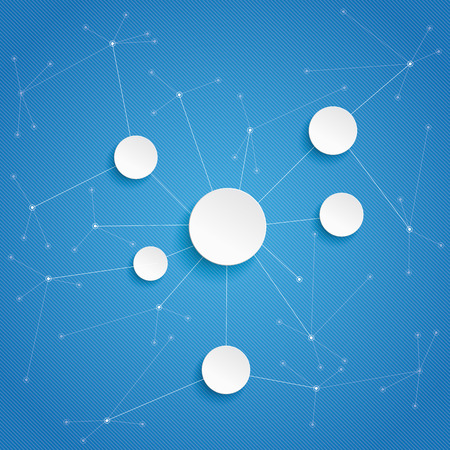 pape: Pape circles with networks on the blue background. Eps 10 vector file. Illustration