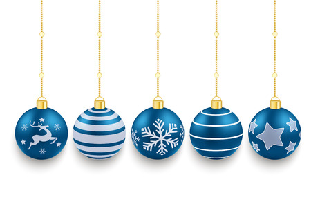 ball chains: 5 blue christmas baubles on the red background. Eps 10 vector file.