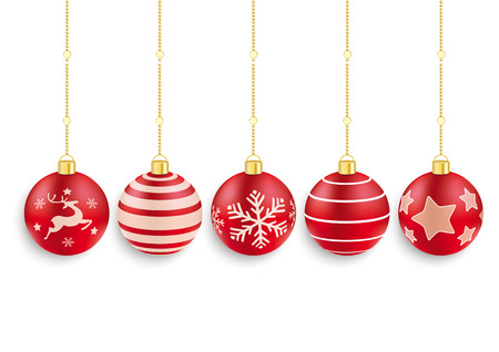 5 red christmas baubles on the red background. Eps 10 vector file. Vector