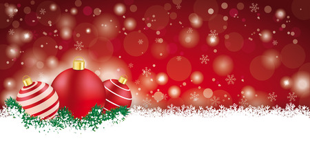 Red christmas card with baubles on the snow. Vector