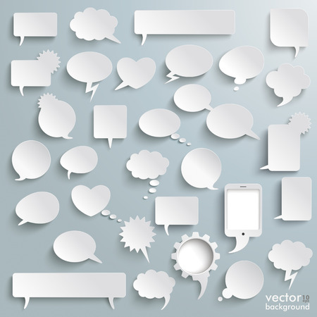 White paper communication bubbles on the grey background.  Vectores