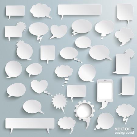 Wit papier communicatie bubbels op de grijze achtergrond. Stock Illustratie