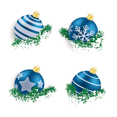 twigs: Christmas blue baubles with twigs on the white background.