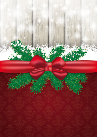 Christmas card with red ribbon, snow, twigs and lights on the wooden background.  Vector