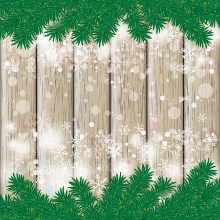 snoflake: Snow with fir branches on white wooden background. Illustration