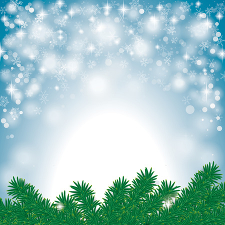 Snow with fir branches on the grey background. Eps 10 vector file. Vector