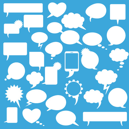 halfone: White communication bubbles on the blue background.  Illustration