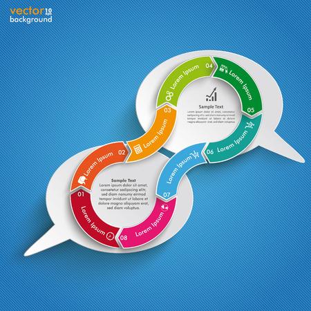 argumentation: Infographic design on the blue background. Eps 10 vector file. Illustration