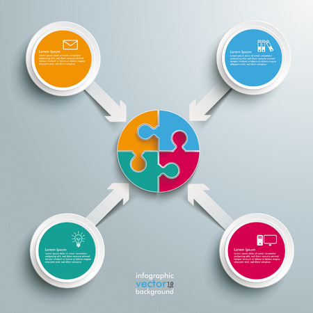 iterative: White paper arrows with circle puzzle on the grey background. Eps 10 vector file. Illustration