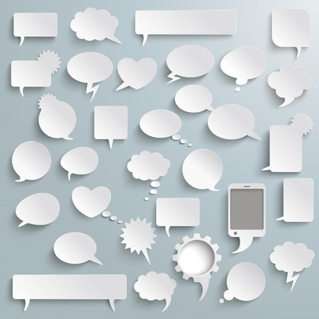White paper communication bubbles on the grey background. Eps 10 vector file. Vettoriali