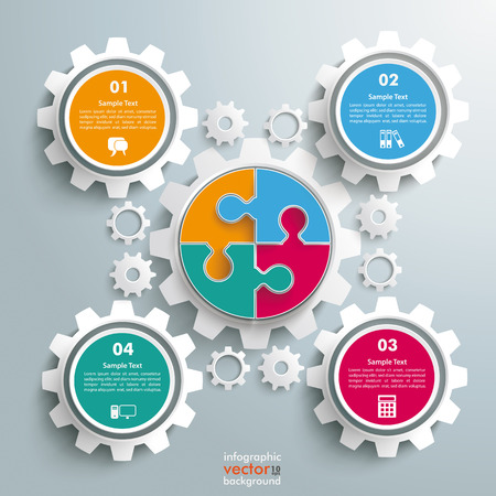 4 wheel: Colored circle puzzle with gears infogrpahic on the grey background. Eps 10 vector file.