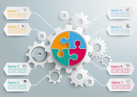 Infographic with gears on the grey background. Eps 10 vector file.