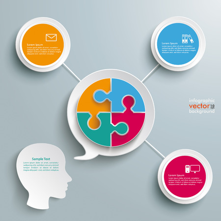 argumentation: Paper speech bubble with circle puzzle on the silver background. Eps 10 vector file.