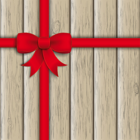 Red ribbon on the wooden background. Eps 10 vector file. Vector