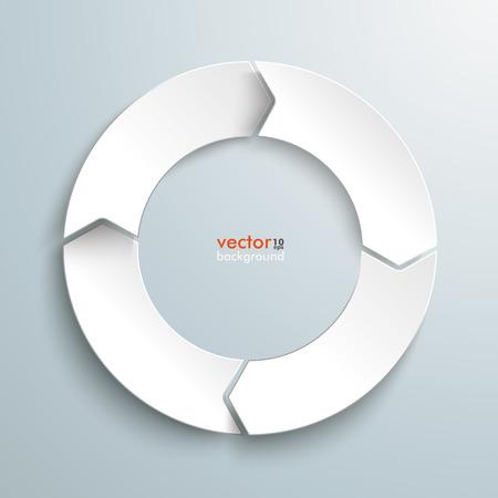 flecha direccion: Anillo blanco en el fondo gris. EPS 10 archivos de vectores.