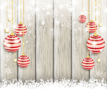 snoflake: Snow with baubles on the wooden background. Eps 10 vector file.
