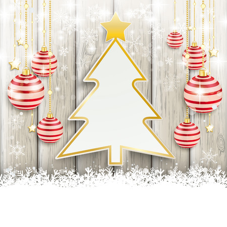 Snow with baubles on the wooden background. Eps 10 vector file. Vector