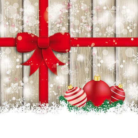 Snow with red ribbon on the wooden background. Eps 10 vector file. Vector