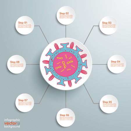 Virus infographic on the gray background. Eps 10 vector file.