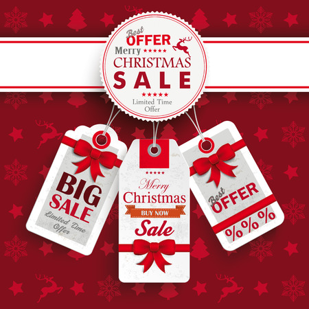 Christmas cover with white emblem and price stickers on the red background. Eps 10 vector file. Vettoriali