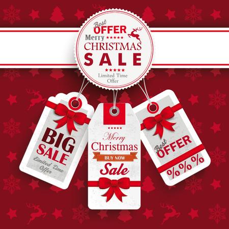 Weihnachten Abdeckung mit weißen Emblem und Preis Aufkleber auf dem roten Hintergrund. Eps 10 Vektor-Datei.