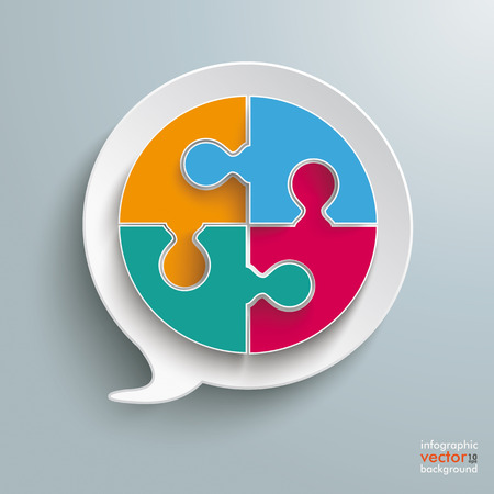 Paper speech bubble with circle puzzle on the silver background. Eps 10 vector file.