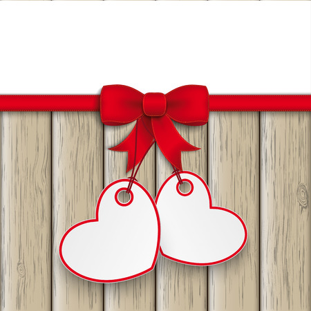 prongs: Hearts with red ribbon on the wooden background. Eps 10 vector file. Illustration
