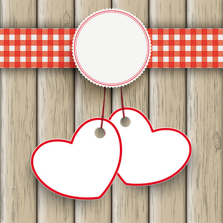 red tablecloth: White paper hearts with checked towel on the white background. Eps 10 vector file. Illustration