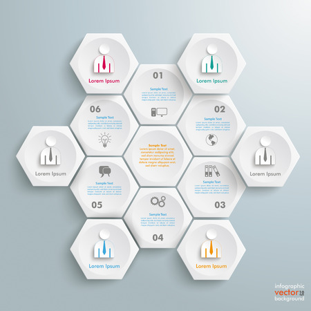 iterative: Infographic with honeycomb structure on the gray background. Eps 10 vector file.