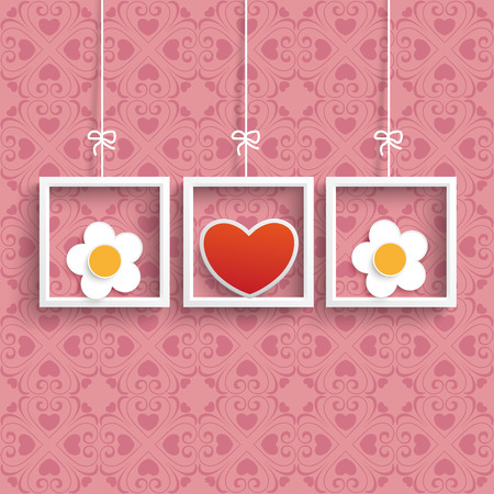 prongs: Frames with colored hearts and ornaments on the pink background. Eps 10 vector file.