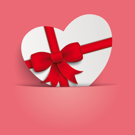 offering: Heart gift on the pink background. Eps 10 vector file. Illustration