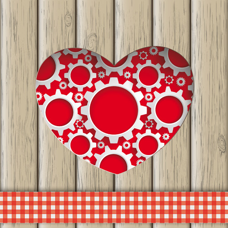 slat: Heart hole with gears and wooden background. Eps 10 vector file.