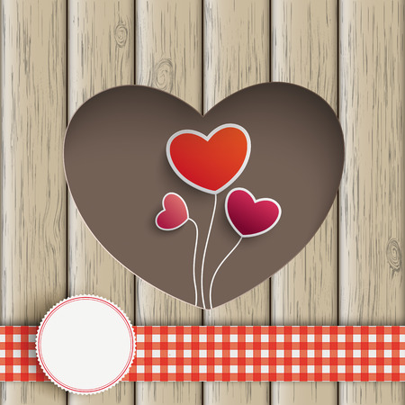 slat: Heart hole with heart balloons and wooden background. Eps 10 vector file. Illustration