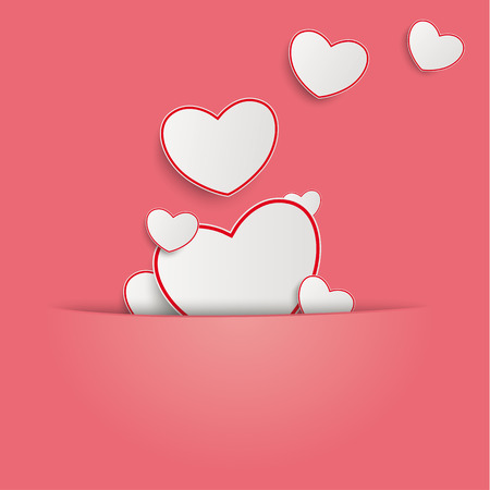 offering: Hearts on the pink background. Eps 10 vector file. Illustration