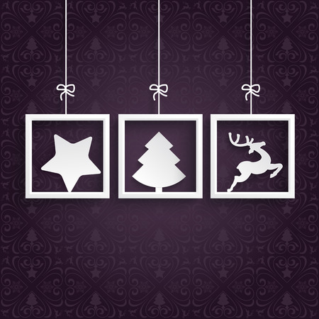 Christmas cover with white frames on the purple background. Eps 10 vector file. Vector