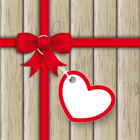 Red ribbon with heart sticker on the wooden background. Eps 10 vector file. Vector