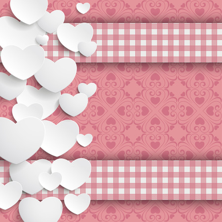 offering: White hearts and ornaments on the pink background. Eps 10 vector file. Illustration
