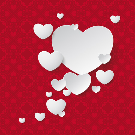 speech ballons: White hearts and ornaments on the red background. Eps 10 vector file. Illustration