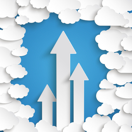 Paper clouds with 3 arrows on the blue background. Eps 10 vector file.