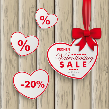 offering: White paper hearts with red ribbon on the white background. German text Frohen Valentinstag, nur für kurze Zeit, translate Happy Valentines Day, limited Time Offer. Eps 10 vector file.