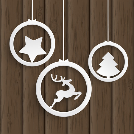 Christmas white rings on the wooden background. Eps 10 vector file. photo