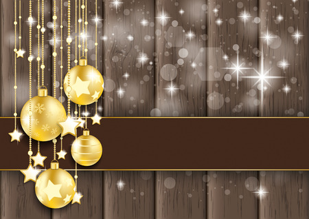 Golden baubles with stars and banner on the wooden background. Eps 10 vector file. photo